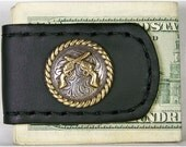 Handcrafted Leather Money Clip with Rope Edge Pistols Concho