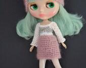Blythe Doll Crochet Four-Way Hat Turban Cloche Beanie Plum Pink Silver White Bow Dress Top