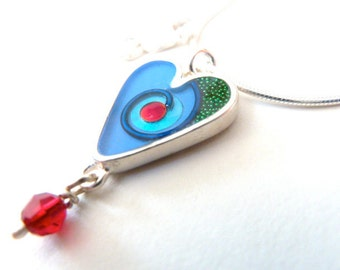 Blue heart necklace,sterling silver,resin inlay,mixed media,hand made
