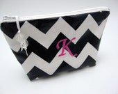 Makeup Bag - Cosmetic Case - Monogrammed and Wipeable - Navy Blue Chevron Zig Zag with Pink Accents