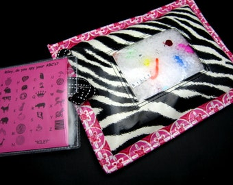 I Spy Bag - Wipeable, Personalized, ABCs and Colors - - Hot Pink Zebra