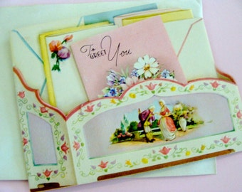 Gorgeous 1920s Antique Unused Embossed Antoinette Greeting Card