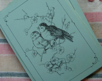 Antique French Blue Aqua Beautiful Bird Images for Altered Art
