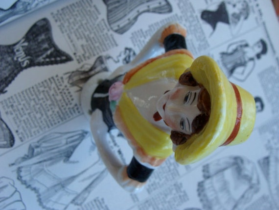 Large Antique Porcelain German  Pin Cushion half Doll