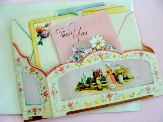 Gorgeous 1920s Antique Unused Embossed Antoinette Greeting Card