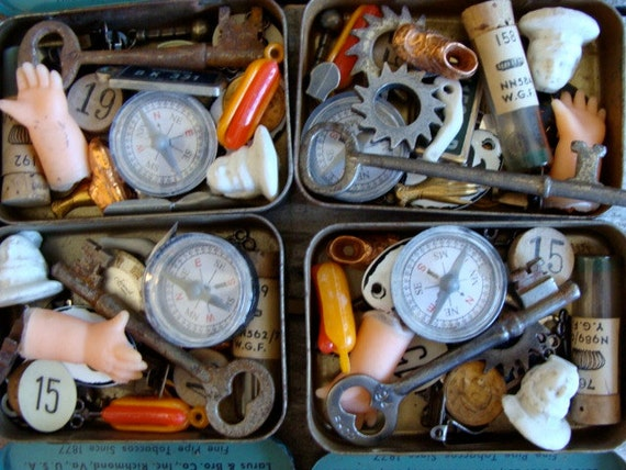Antique Salvaged Tin packed full for my Amazing Assemblage Artists 25PC