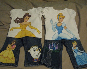 Custom Painted Disney Princess Infant  6 m to 12 m choice of Cinderella, Belle,  Sleeping Beauty, Ariel,shirt and 2 Character Jeans set