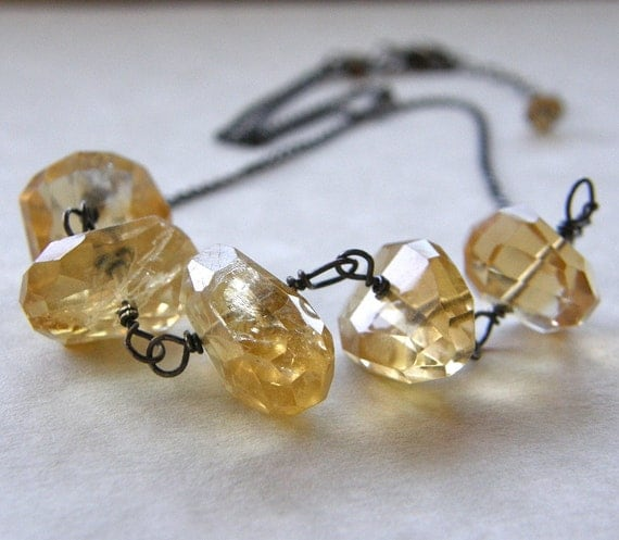 Citrine Necklace, Chunky Yellow Necklace, Rough Cut Gem Necklace, Gemstone Necklace