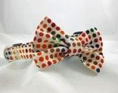 Adjustable Dog Collar Bow Tie Colorful Polka Dots
