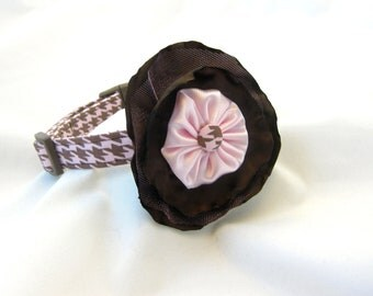 Dog Collar Pink Brown Rosette Flower