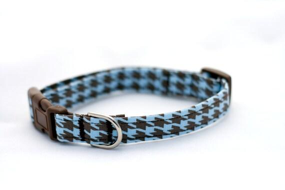 Adjustable Dog Collar Blue Brown Herringbone