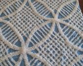 Plush Blue Wedding Ring Vintage Chenille Fabric