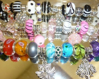 SALE 10 European Beads Mixed Lot Glass, Crystals,Dangle Charms,Euro Beads,Big Hole Beads