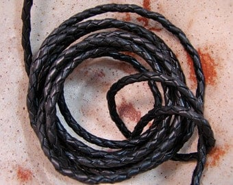 Premium Quality Leather Cord - 3mm Braided Black  -  Leather Cord By The Yard