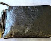 Faux Leather Clutch in Black, Vegan Purse in Black