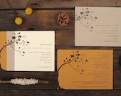Fall Wedding Invitations - Tree Leaves Autumn Warm Orange Brown Invite