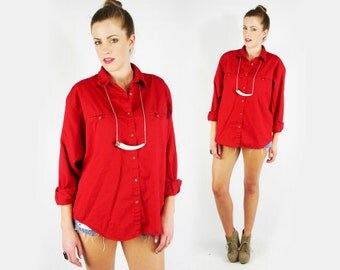 Red Shirt Buttons Abercrombie & fitch shirt, 80s red shirt, red