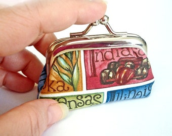 All Around The USA - Tiny Metal Frame Coin Purse