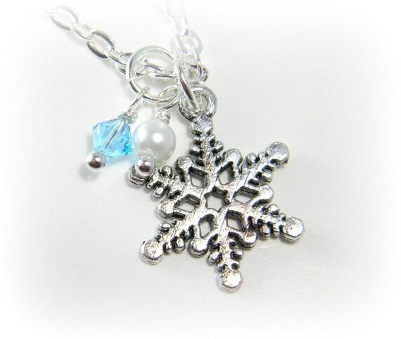 silver snowflake necklace with swarovski winter