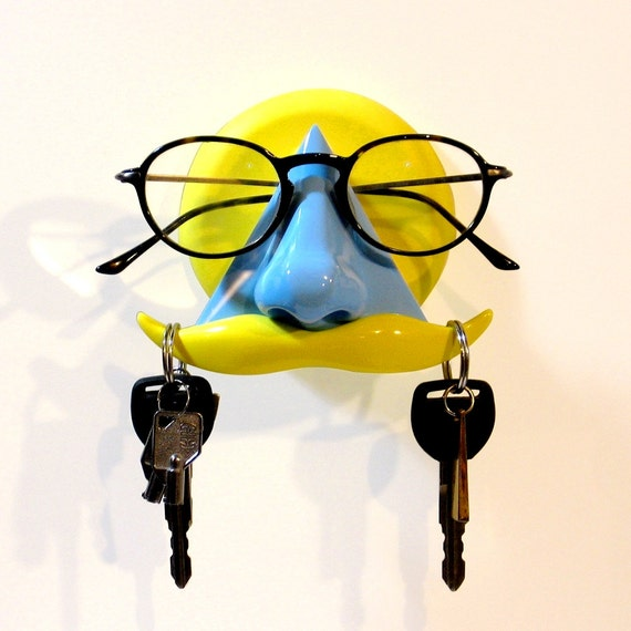 eyeglass holder, wall mount key hook mustache, geeky funky fun organizer, blue yellow