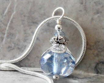 Ice Blue Faceted Glass Bead Pendant Necklace on Silver Chain