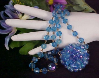 PHENOMENAL Blue Lucite Crystal Cluster -Made In Western Germany Necklace - Ornate Clasp