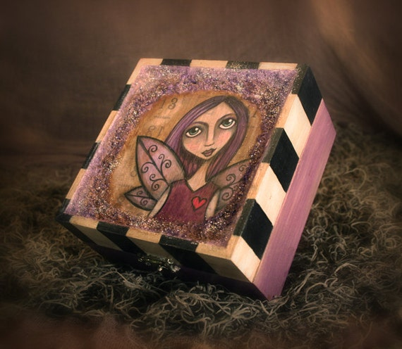 The Lavender Faerie - Mixed Media Wooden Keepsake Box