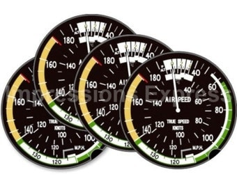 Aviation Airspeed Indicator Coasters - Set of 4