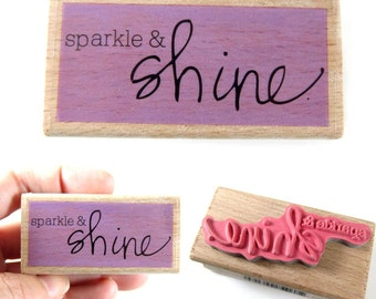 Sparkle & Shine - Rubber Stamp - Etsy Shop, Logo, Branding, Packaging, Invitations, Party, Favors, Wedding Gifts