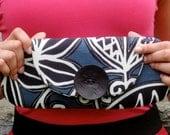 Clutch Wallet Purse Bridesmaid - Blue and White Tribal Print Summer Fashion