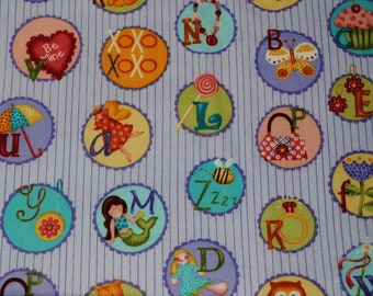 Fat Quarter Cute Colorful Alphabet with Matching Pictures Fabric