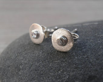 Round Silver Earrings, Small Silver Stud Earrings, White Cubic Zirconia Post Earrings, Every Day Sterling silver studs, Graduation gift