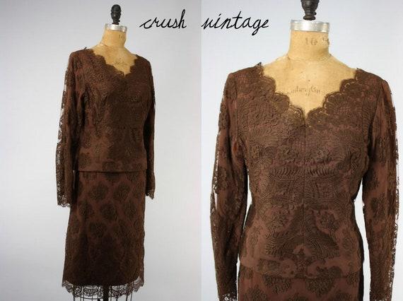 SALE!  / 60s Chocolate Lace Suit S M / 60s Womens Lace Suit