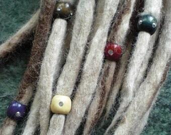 "Set of 3 Fancy Dread Beads Small Gem Stud 1/3"" Wooden Thin Dreadlock Braid Accessories Wood 5mm 6mm Diameter Hole Dreads Braids Mix Colours"