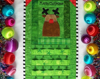 Advent Calendar - Quilted Rudolph the Red-Nosed Reindeer in Bright Green and Holiday Red - Countdown to Christmas