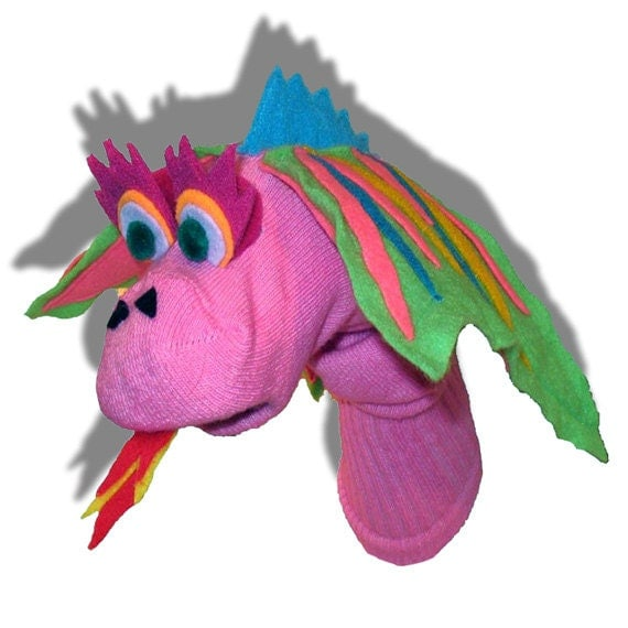 Handmade Pink Dragon Sock Puppet