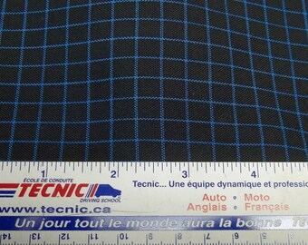 Vintage Black and blue plaid fabric, black fabric, blue lined fabric, black plaid fabric, polyester fabric, sewing, costume project,