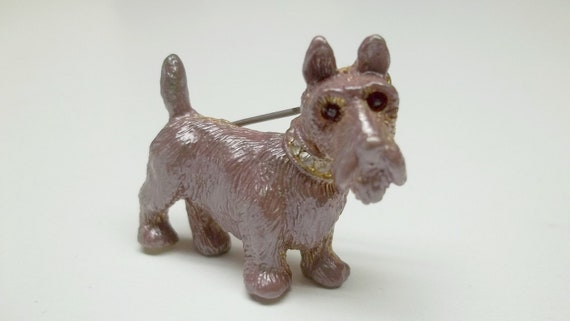 Vintage lilac pewter rhinestone Scottish terrier brooch dog collectible