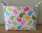 LARGE Fabric Organizer Basket Storage Container Bin Bucket Bag Diaper Holder Home Decor- Size Large - Urban Zoologie Birds