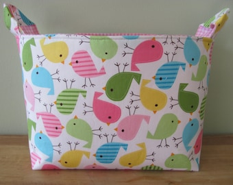 LARGE Fabric Organizer Basket Storage Container Bin Bucket Bag Diaper Holder Home Decor- Size Large - Urban Zoologie Birds