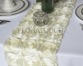Ivory Satin Ribbon Rosette Wedding Table Runner