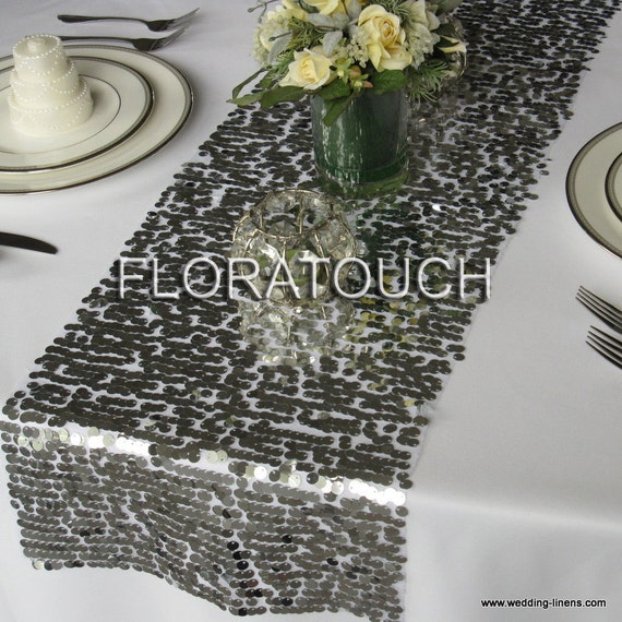 Silver Sequin Table Runner Wedding Table Runner - More colors available also