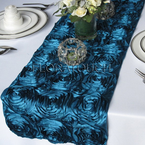Peacock Satin Rosette Table Runner Wedding Table Runner