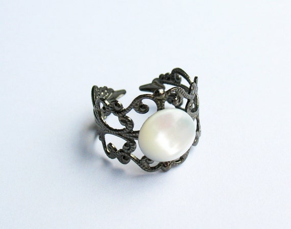 Mother-of-Pearl Ring  - Gunmetal Vintage-Style Filigree Ring with a Bleached White Mother-of-Pearl Cabochon