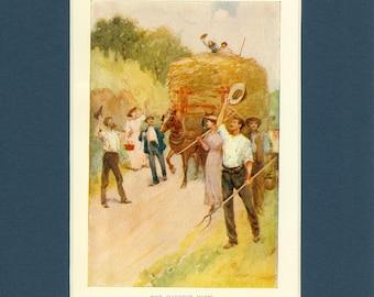 Vintage 1930's Hay Harvest Home Farm Print