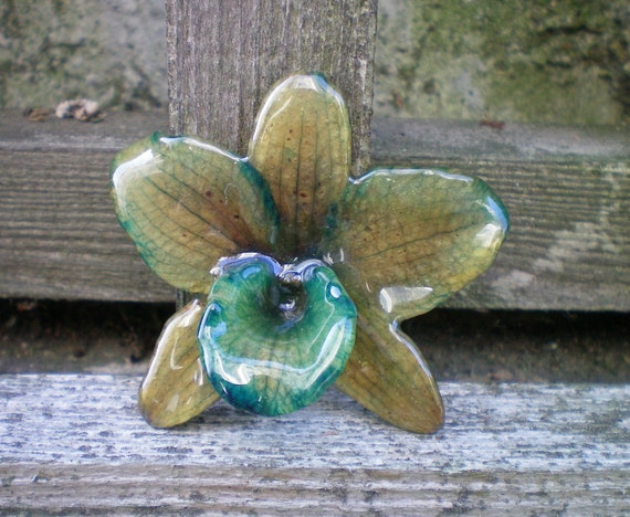 Real Natural Olive Green and Teal Medium ORCHID Pendant and Pin