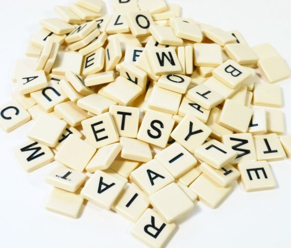 Plastic Scrabble Tiles Game Pieces Letters Alphabet Jewelry Supply PeachyChicBoutique on Etsy