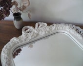 RESERVED FOR NANCY Vintage Mirror Cottage White Wall Hanging Homco