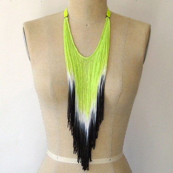 Neon Lime Fringe Necklace