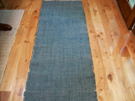 Woven Rag Rug Runner Teal Blue 86 inches long No Fringe